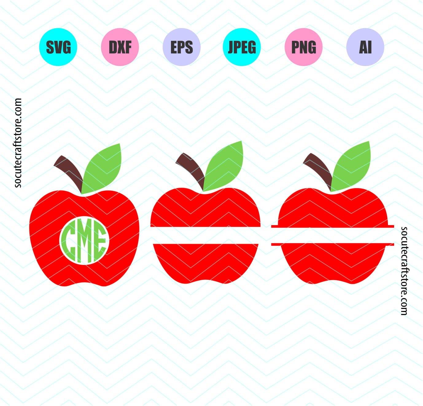 Split Apple Svg Apple Svg File Dxf File Png File Clipart Digital Cut Files Cricut Explore Silhouette Cameo Socutecraftstore